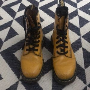 Yellow dr martens, made in England